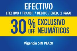 EFECTIVO</br>30% dto. Neumáticos