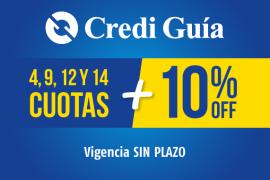 Credi Guía</br> 4, 9, 12 y 14 Cuotas + 10% OFF