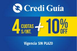 Credi Guía</br> 4 Cuotas + 10% OFF
