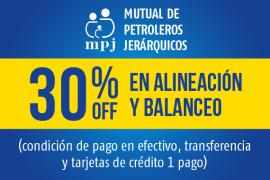 Mutual de Petroleros Jerárquicos</br> 35% off en alineación y balanceo