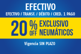 EFECTIVO</br> 20% OFF
